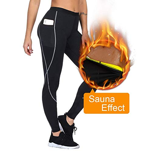 FeelinGirl Women Sauna Weight Loss Slimming Neoprene Pants with Side Pocket Hot Thermo Fat Burning Sweat Leggings Black