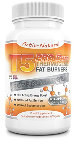Activ-Natural T5 Pro-Burn Thermogenic Advanced Fat Burners – Fast Acting Workout Superchargers 60 Capsules (30 Day…
