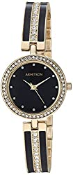 Swarovski Crystal Accented Gold-Tone & Black Bangle Watch