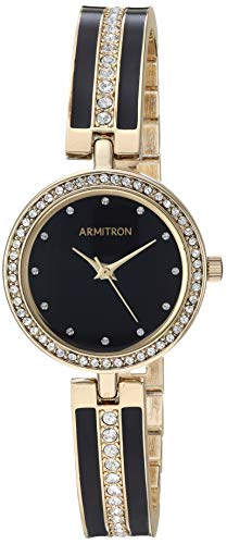 (Armitron Women's 75/5608BKGP Swarovski Crystal Accented Gold-Tone and Black Bangle Watch)