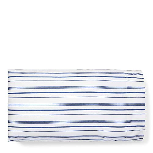 (Ralph Lauren Standard Size Striped Pillowcases Alexis Off White and Blue 100% Cotton Percale)