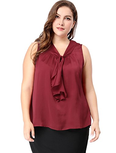 Ruffle Front Silk Top - uxcell Agnes Orinda Women's Plus Size Ruffle Front V Neck Sleeveless Top 2X Burgundy