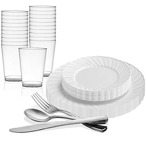 Disposable Plastic Dinnerware Set for 72 Guests - Includes Fancy Flared White Dinner Plates, Dessert/Salad Plates, Silverware Set/Silver Cutlery & Cups For Wedding, Birthday Party & Other Occasions