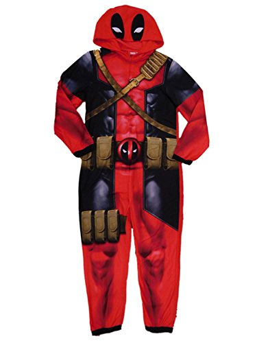 Marvel Deadpool Mens Red Fleece Hooded Costume Union Suit Pajamas M]()
