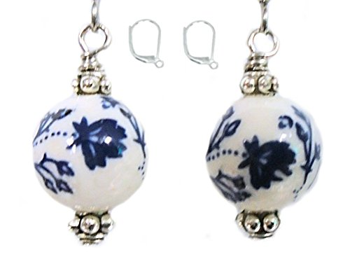 Dark Blue Flower Ceramic Silver Colored Earring Set (2. LEVERBACKS - Nickel - Earrings Set Ceramic