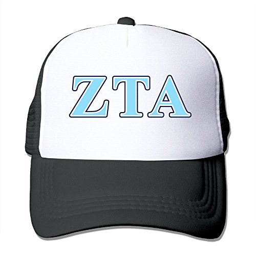 ZhiqianDF Men Zeta Tau Alpha Navy Blue And Baby Blue Letters Funny Baseball Black Mesh Cap Adjustable - Store Seattle Tiffany