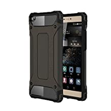 Huawei P8 Case Otter Hybrid Dual Layer Port Caps And The Front-Facing Speaker Cutout Heavy duty Cover for Huawei P8 (No P8 Lite) 2015 Edition - (Black)