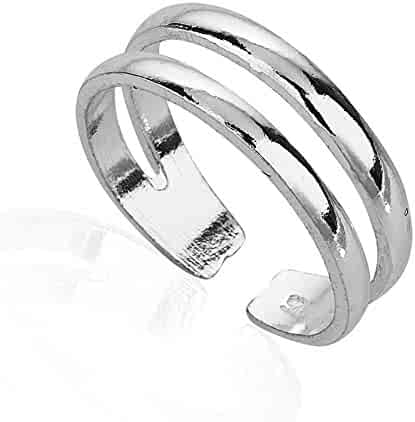 925 Sterling Silver Horizontal Double Lines Simple Band Toe Ring, 5.5mm