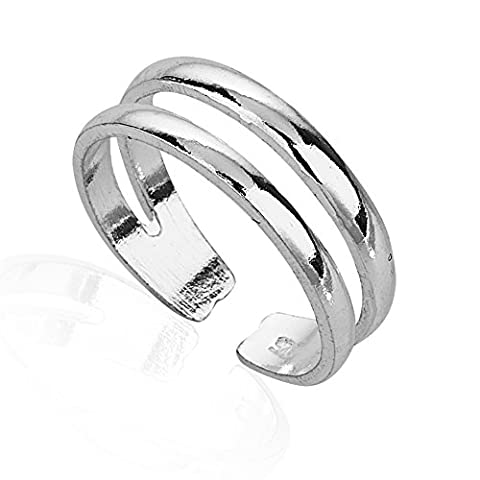 925 Sterling Silver Horizontal Double Lines Simple Band Toe Ring, 5.5mm (Boho Rings Silver)