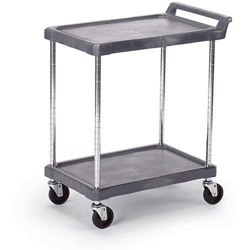 "Economical Polymer Utility Carts - 28""Wx17""D Shelf - 2 Shelves - Gray"