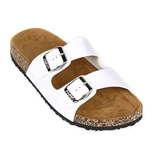 (ANNA Footwear Women's Casual Buckle Straps Sandals Flip Flop Platform Footbed (10,)