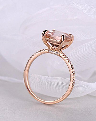 Morganite Engagement Ring Princess Cut Rose Gold 925 Sterling Silver CZ Thin Band Solitaire Ring Eternity by Milejewel Morganite Engagement Ring (Image #4)