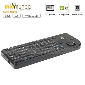 MioMundo - Mini teclado inalámbrico trackball con puntero láser incorporado. Compatible con tablets Android y cualquier dispositivo ...