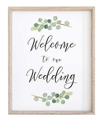 2 City Geese Welcome to Our Wedding Sign for Reception or Ceremony | Watercolor Greenery with Eucalyptus Print on Thick Cardstock Paper | Wedding Decoration NOT Framed -