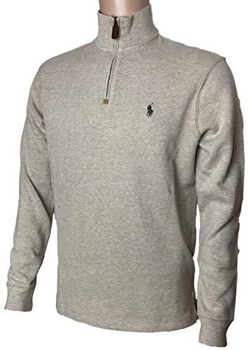 Polo Ralph Lauren Mens Half Zip French Rib Cotton Sweater (Small, Tan)