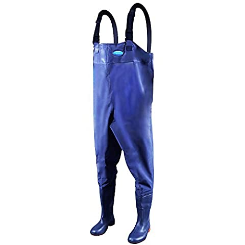 Webetop Men's Fishing Chest Waders with Boots Waterproof Breathable Rubber Lightweight Anti-Slip Wading Overalls Pants with Inner Pocket Adjustable Shoulder Strap Blue Size 11
