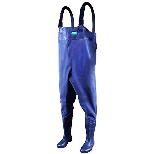 Hip High Waders (Webetop Men's Fishing Chest Waders with Boots Waterproof Breathable Rubber Lightweight Anti-Slip Wading Overalls Pants with Inner Pocket Adjustable Shoulder Strap Blue Size 10)