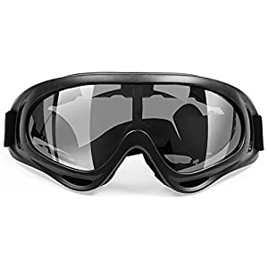 Ice Ski Goggles | Super Tough Anti Fog Goggles for All Weather | Double Glasses Sandproof Eye-Wear with Smart Air-Flow System | UV400 Protection Gray Lenses with Adjustable Headband | Black | 1534