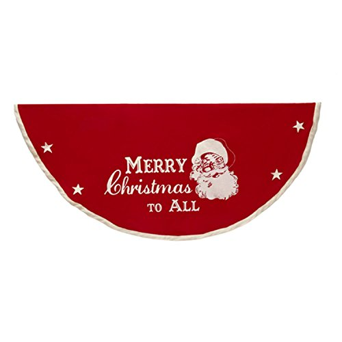 "Kurt Adler 52"" Red and Off-White Merry Christmas to All Tree Skirt"