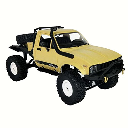 ZLOSKW RC Car Model - 1:16 WPL C14 Scale 2.4G 2CH 4WD Mini Off-road RC Semi-truck RTR Kids Climb Truck Toys (Yellow)