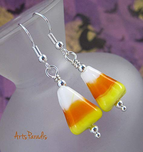 Small Halloween Orange and Yellow Lampwork Glass Candy Corn Dangle Earrings by ArtsParadis -