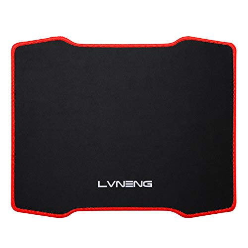 Mouse Pad with Stitched Edges, LVNENG Premium-Textured Surface and Non-Slip Rubber Base Mouse Pad for Laptop, Computer&PC, 12.5×10.5×0.2 Inches (red)