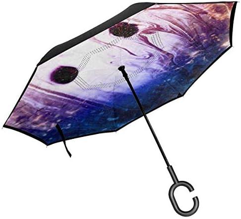 ボーリングボール ユニセックス二重層防水ストレート傘車逆折りたたみ傘C形ハンドル付き