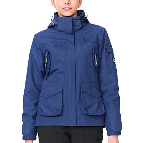 CAMEL CROWN Womens Waterproof Ski Jacket 3-in-1 Windbreaker Winter Coat Fleece Inner for Rain Snow Outdoor Hiking, Dark Blue, Large