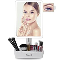 Fancii LED Lighted Large Vanity Makeup Mirror with 10X Magnifying Mirror - Dimmable Natural Light, Touch Screen, Dual Power, Adjustable Stand with Cosmetic Organizer