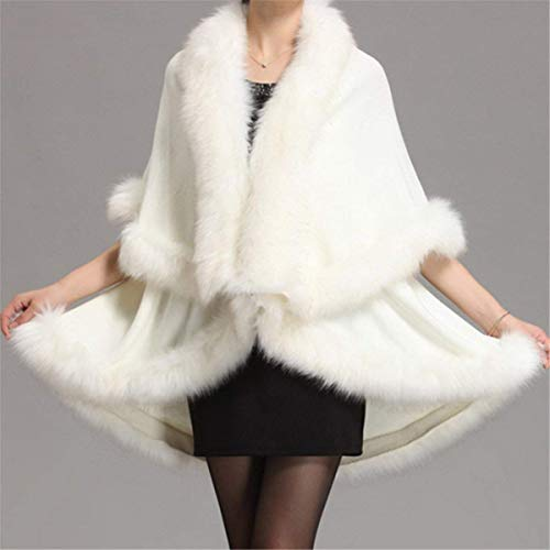Style Poncho Unifarben Herbst Elegante Mantel Unregelmäßig Blanc Pelzponcho Unikat Damen Adelina Umschlagtuch Fauxpelzkragen Winter Fledermausärmel Pelzumhang vfdqxCC4n