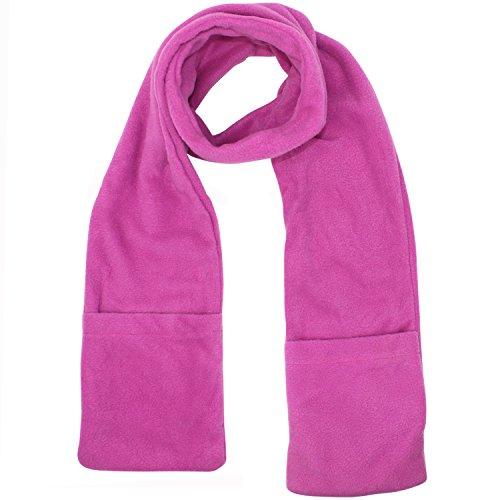 Unisex Fleece Scarf (Pink Heated Fleece Unisex Winter Scarf With Pockets)