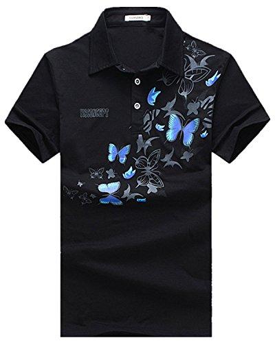 怠惰対角線ダム[ファンノシ]Fanessy ポロシャツ メンズ半袖 お洒落な重ね着スタイル ボーダー 涼しい 通気性 速乾性 薄手 吸汗 夏 polo カジュアル スポーツウェア ゴルフウェア シンプル 人気 ファッション カッコイイ メンズTシャツ