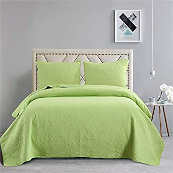 Amazon Com Vitale Quilts King Size Lime Green Bedspreads