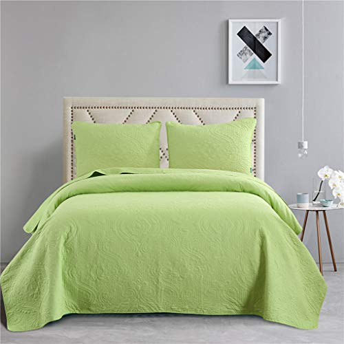 Quilts Queen Size,Lime Green Bedspreads Set,Cotton Reversible Lightweight Coverlets Set,Paisley Bed Blanket
