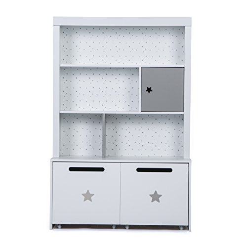 LUCKUP Kids Furniture Children Wood 3-Tier Tall Shelf Bookcase with Two Removable Drawer, White by LUCKUP