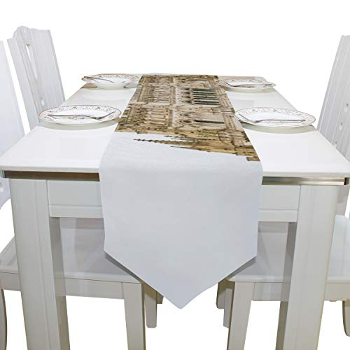 Table Cover Long History Amiens Cathedral Church Modern Table Runner Farm Table Cloths for Kitchen Outdoor Coffee Table Wedding Table Covers Bar Coasters 13x90 Inch -