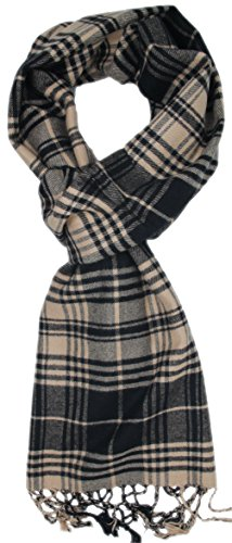 Wenseny Mens Scarves Winter Warm Classic Plaid Stripes Cashmere Feel Multiple Scarf Chocolate Brown