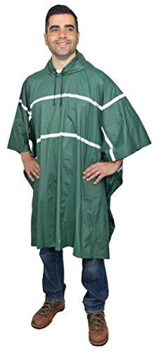 Galeton 12335-GR 12335 Repel Rainwear0.20 mm PVC Rain Poncho with Reflective Stripes, One Size, Green (Poncho Rainwear)