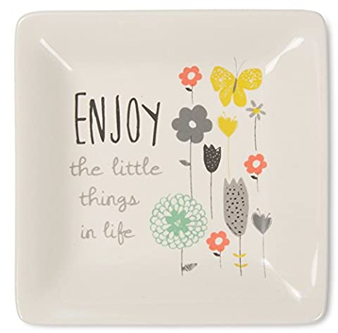 Pavilion Gift Company Bloom by Amylee Weeks - Enjoy The Little Things Floral Butterfly Jewlery Dish, (Butterfly Jewelry Dish)