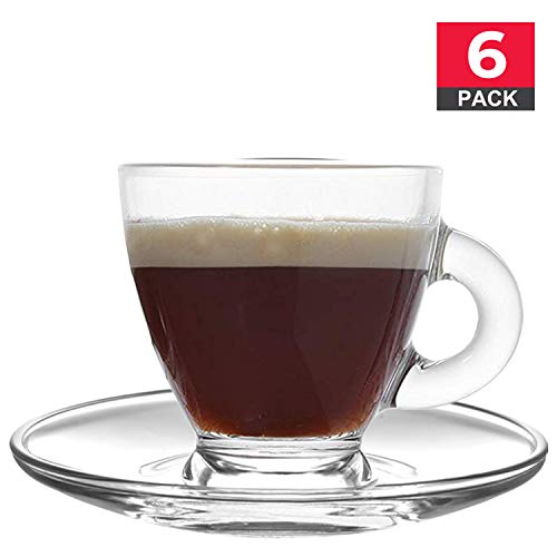 Espresso Cups with Saucers, Demitasse Clear Glass Drinkware, Set of 6 Cups and 6 Saucers for Turkish Coffee, Tea and Espresso Lover (Glass Coffee Cups Saucers Clear And)