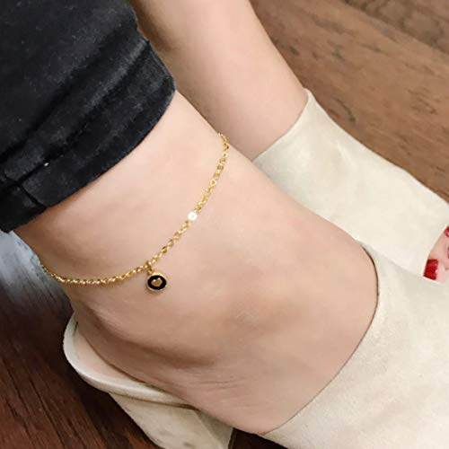 Customized Dainty Round Heart Anklet/ 16k Gold White Gold Rose Gold Plated/Christmas Wedding Brithday Gifts