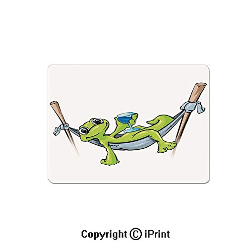 Gaming Mouse Pad Custom,Bohemian Frog Prince on Hammock with Wine Little Mascot Relax Peace in Garden Decorative Mouse Mat,Non-Slip Rubber Base Mousepad,7.9x9.5 inch,Green Blue Gray