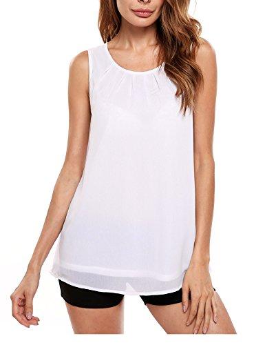 Beyove Women Summer Chiffon Sleeveless Blouse Tank Shirt
