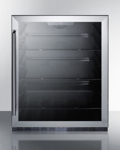 Summit AL57G Built-in Undercounter ADA Compliant All-Refrigerator with Glass Door, Black Cabinet, Door Storage, Lock, and Digital Thermostat