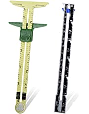 2 Pieces Sliding Gauge Measuring Sewing Tool, 5-in-1 Sliding Gauge Measuring Sewing Ruler Tool Fabric Quilting Ruler for Sewing Knitting Quilting Crafting