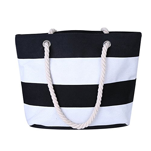 (BeAllure Women's Striped Canvas Handbag Large Capacity Tote Bag for Shopping (Black))
