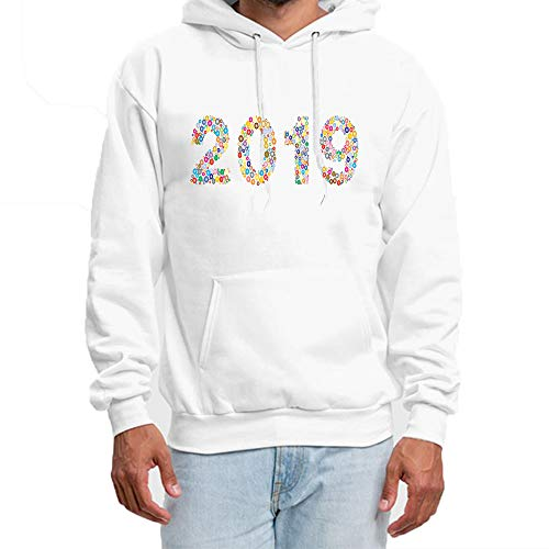 Hoodies for Men Art Year 2019 Color Circle Custom Personalized Autumn Winter Long Sleeve Hoodies Pockets Sweatshirt White 2XL