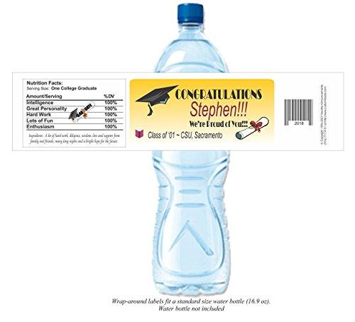 Amazon com: Graduation Water Bottle Labels, Personalized