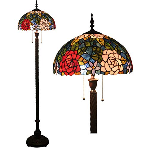 GDLight Tiffany Style Roses Floor Lamp American Floral Romantic Stained Glass Reading Floor Standing Lamp for Bedroom Living Room, 63 Inch Tall