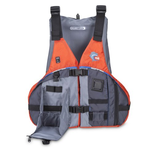 (MTI Adventurewear Solaris F-Spec Kayak Fishing PFD Life Jacket, Orange/Grey, Small/Medium)